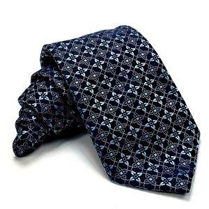 Canali Blue Floral Silk Necktie Tie Jacquard Woven